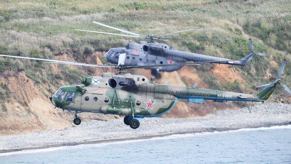 Vrtulníky Mi-8 během cvičení Vostok 2018 - Sputnik Česká republika