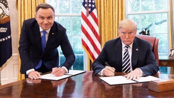 Polský prezident Andrzej Duda a americký prezident Donald Trump - Sputnik Česká republika