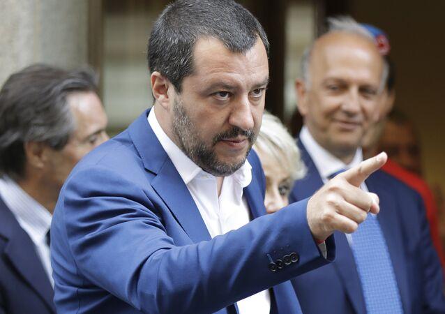 Italský ministr vnitra a vůdce Ligy Matteo Salvini