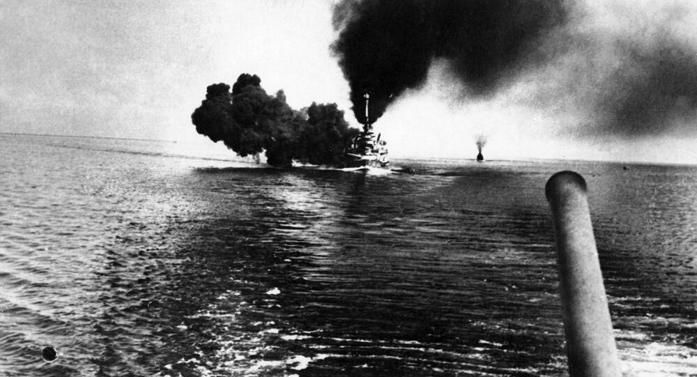 SMS Schleswig-Holstein během boje