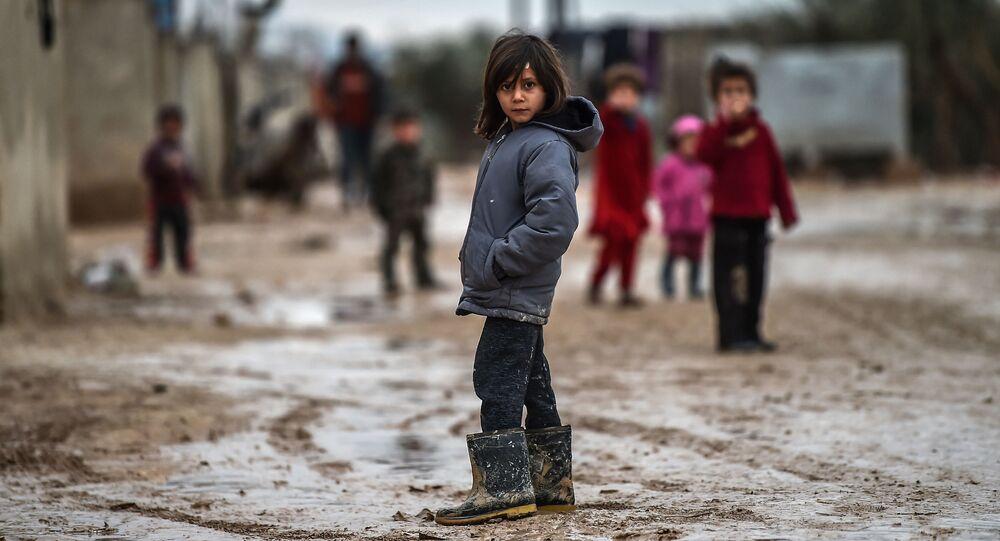 Syrské děti v uprchlickém táboře