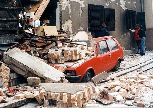 Ulice Bělehradu po bombardování NATO, 1999