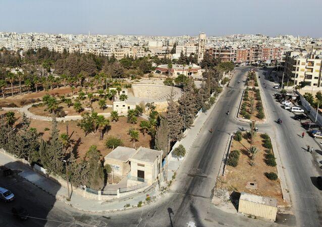 Pohled na Idlib v Sýrii