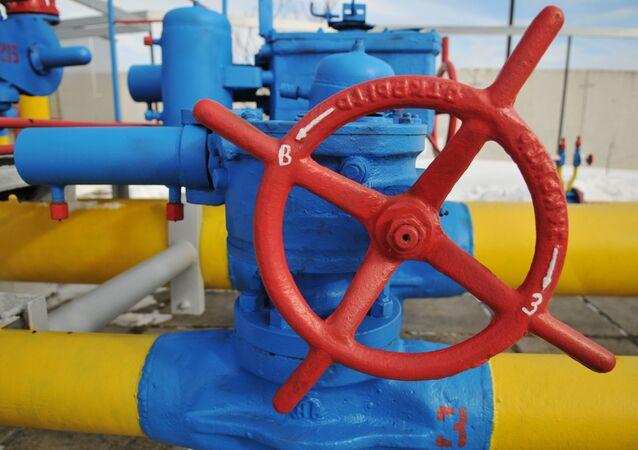 Ventil u plynového potrubí ve Lvovské oblasti, Ukrajina