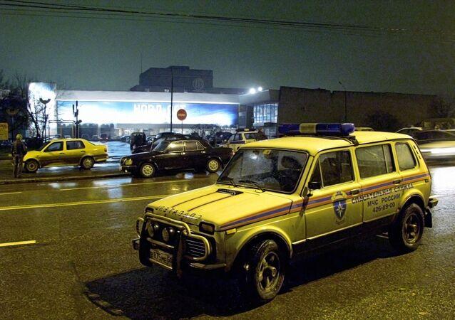 Budova divadelního centra v Moskvě, která byla obsazena čečenskými teroristy během představení muzikálu Nord-Ost 23. října 2002