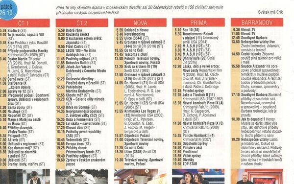 Historické kalendárium v časopisu Vlasta (42/2018) odkazující k zásahu proti teroristům v divadle na Dubrovce (2002) - Sputnik Česká republika