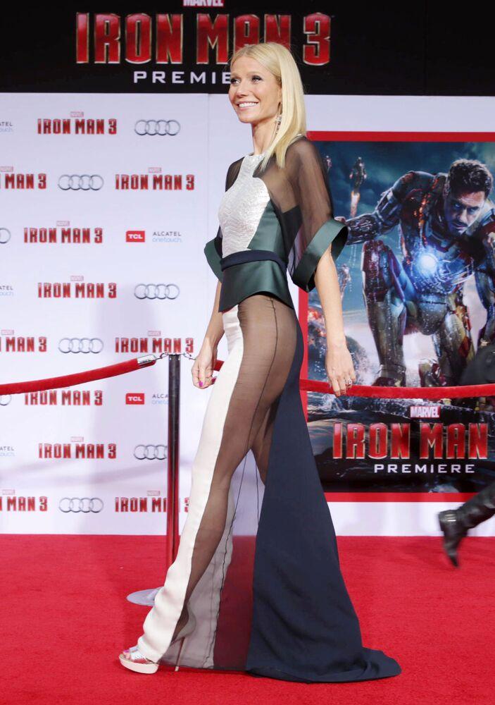 Americká herečka Gwyneth Paltrow na premiéře filmu Iron Man v Los Angeles