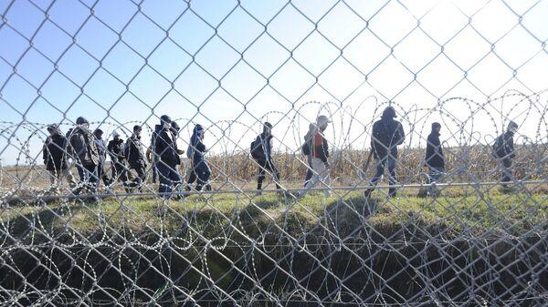 Мигранты за колючей проволокой на границе между Сербией и Венгрией - Sputnik Česká republika