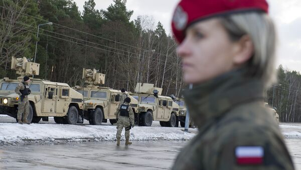 American soldiers are pictured during a welcome ceremony at the Polish-German border in Olszyna, Poland on January 12, 2017 - Sputnik Česká republika