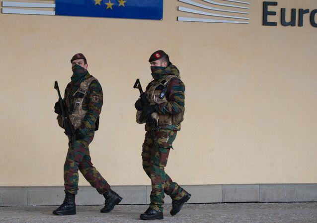 Belgičtí vojáci v Bruselu