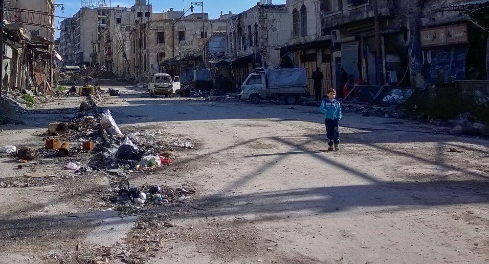 Chlapec v syrském Aleppu