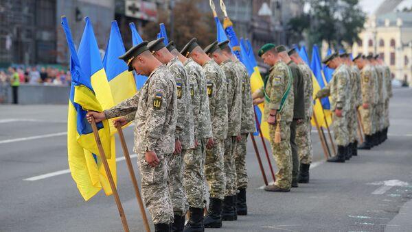Ukrajinští vojáci na přehlídce v Kyjevě - Sputnik Česká republika