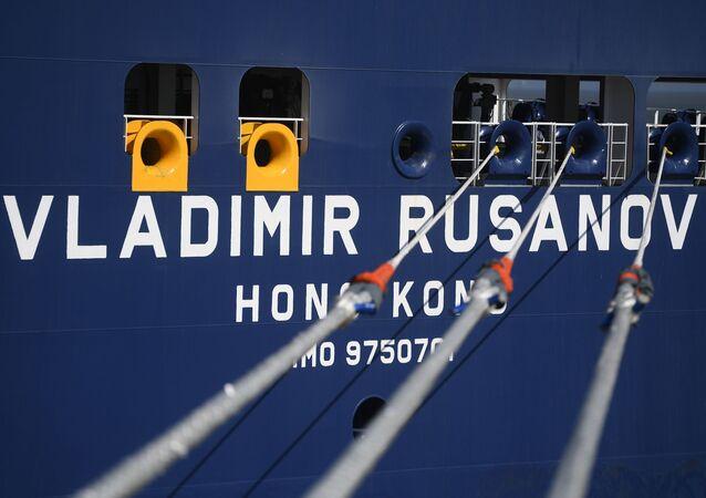 Ruský tanker Vladimir Rusanov s LNG v čínském přístavu