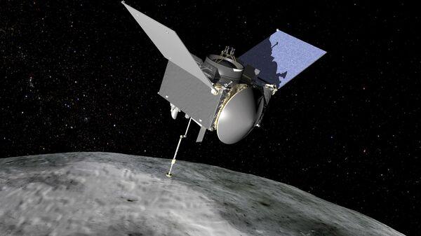 Sonda OSIRIS-REx nad asteroidem Bennu (grafická ilustrace) - Sputnik Česká republika