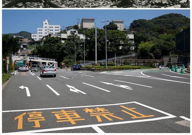 Lékařská college Nagasaki po bombardování 9. srpna r. 1945 a dnes