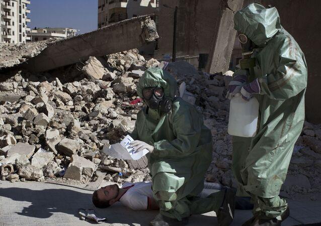 Cvičná evakuace v případě chemického útoku