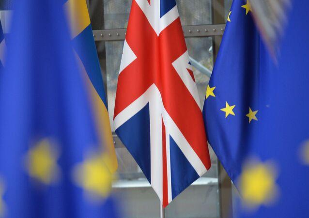 Vlajky Velké Británie a EU