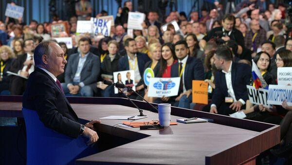 Vladimir Putin během Velké tiskové konference, Moskva - Sputnik Česká republika