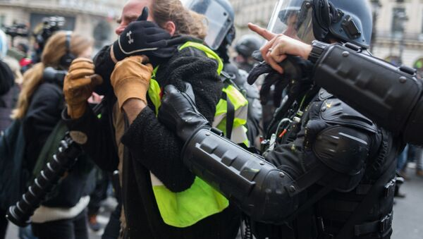 Policie zadržela účastníka protestní akce žlutých vest v Paříži - Sputnik Česká republika