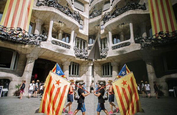 Účastníci akce podporovatelů nezávislosti Katalánska v Barceloně - Sputnik Česká republika