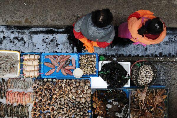 Stánek na Rybářském trhu Noryangjin v Soulu - Sputnik Česká republika