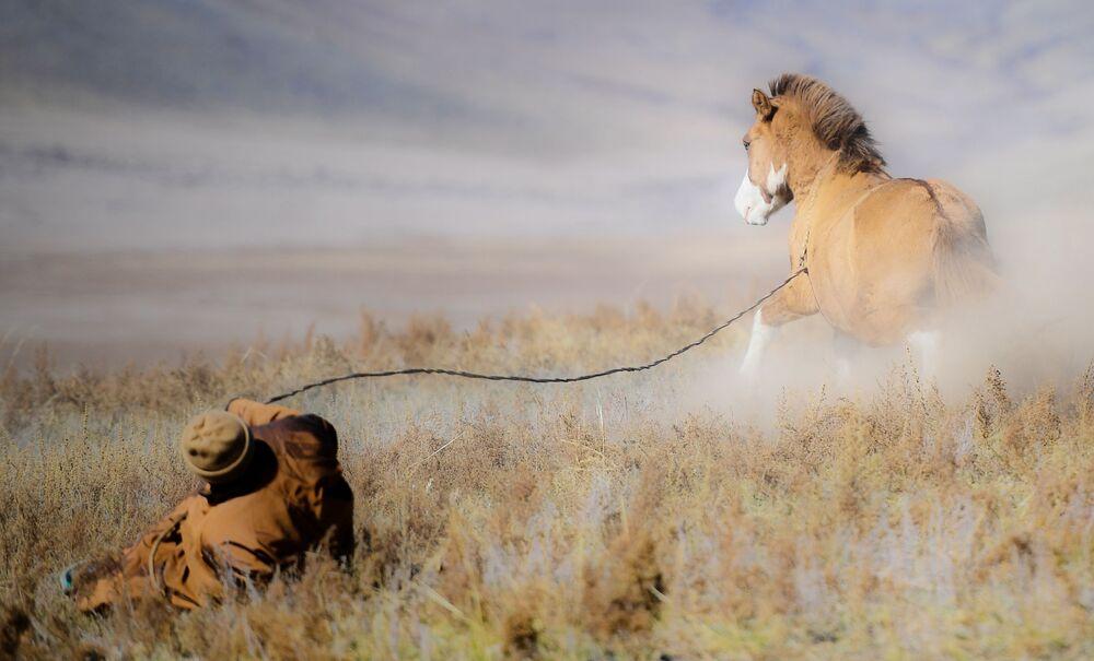 Mongolský pastýř s koněm
