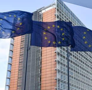 Vlajky Evropské unie v Bruselu