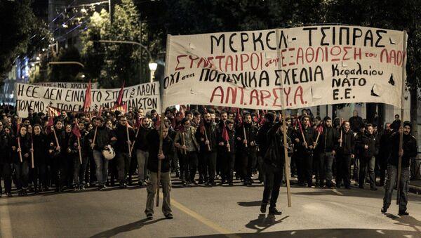 V Athénách se uskutečnila manifestace proti Angele Merkelové - Sputnik Česká republika