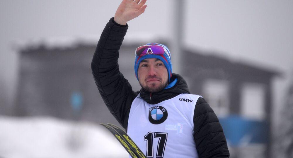 Alexandr Loginov po prvním vítězném závodě ve Světovém poháru. Oberhof