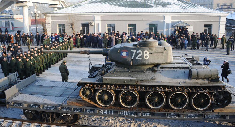 Jeden z tanků T-34, které Laos předal Rusku