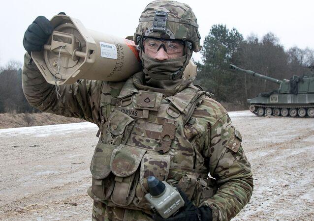 Americký voják při cvičení v Německu