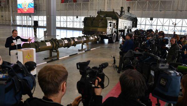 Raketa 9М729 ve výstavním pavilionu v Moskevské oblasti - Sputnik Česká republika