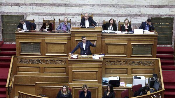 Řecký premiér na jednáních v parlamentu - Sputnik Česká republika