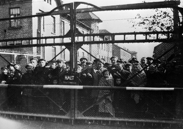 Osvětimští vězni před osvobozením sovětskými vojáky