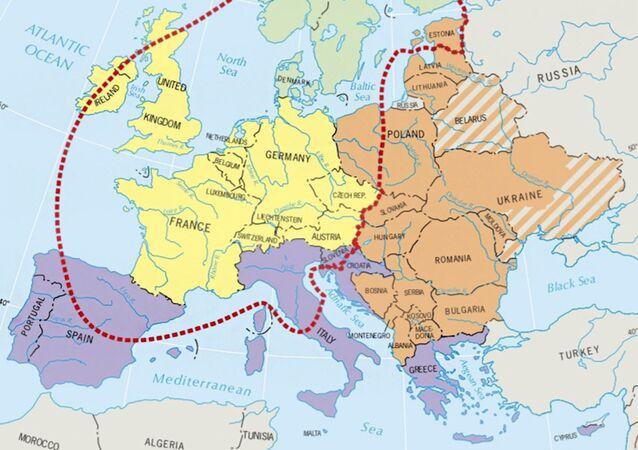 Mapa Evropy v americké učebnici zeměpisu