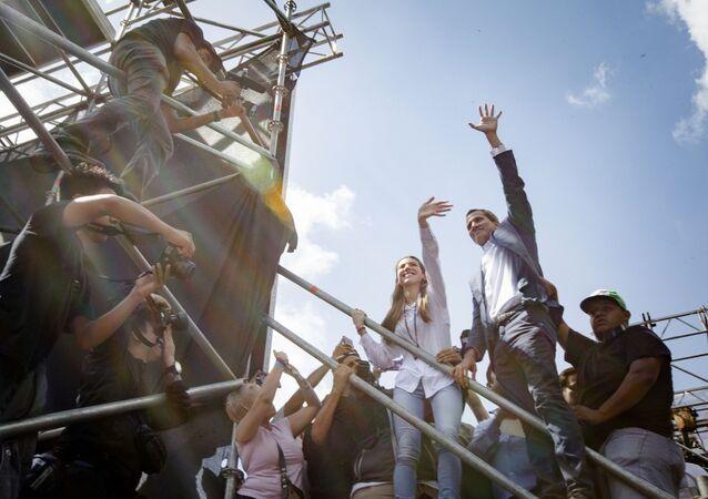 Lídr venezuelské opozice Juan Guaidó na mítinku