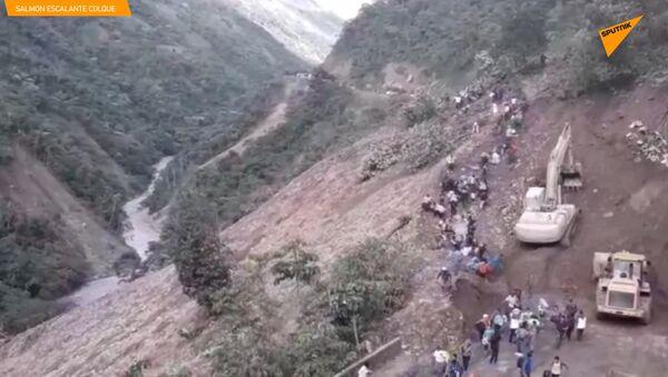Sesuv bahna snesl lidi po několika dnech vytrvalých dešťů v Bolívii - Sputnik Česká republika