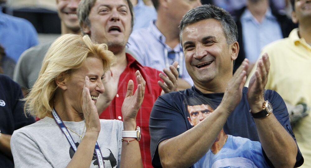 Diana a Srdan Djokovićovi při zápase jejich syna Novaka Djokoviće
