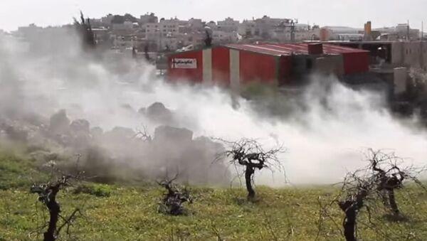 Izraelský slzný plyn prší na plantážníky nedaleko Betléma - Sputnik Česká republika