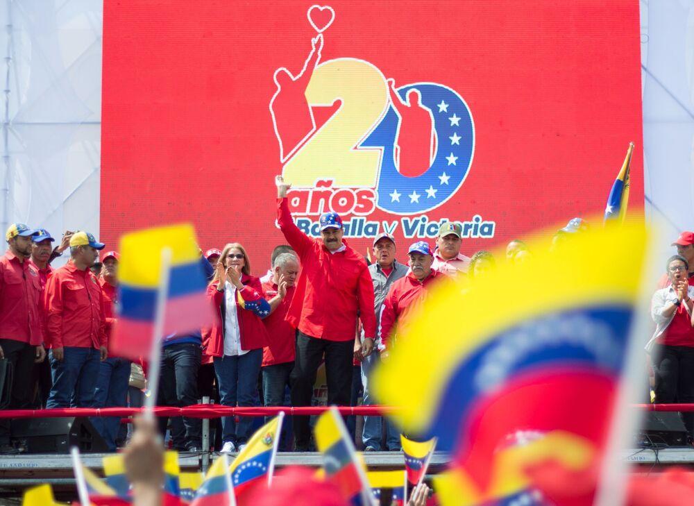 Venezuelský prezident Nicolás Maduro během svého projevu na setkání v Caracasu.