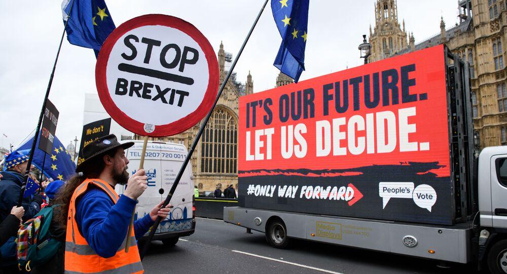 Aktivisté vystupují proti Brexitu před Dolní sněmovnou britského parlamentu