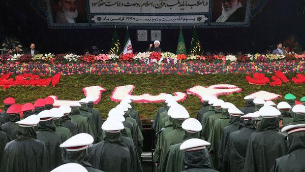 Projev íránského prezidenta Hasana Rúháního během oslav 40. výročí islámské revoluce v Teheránu (dne 11. února 2019) - Sputnik Česká republika