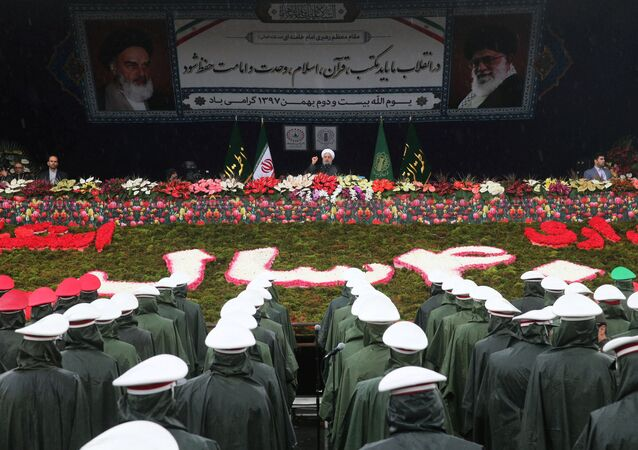 Projev íránského prezidenta Hasana Rúháního během oslav 40. výročí islámské revoluce v Teheránu (dne 11. února 2019)