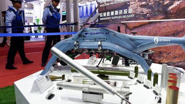 Dron BLOWFISH A2 na mezinárodním leteckém veletrhu v Číně (dne 6. listopadu 2018). - Sputnik Česká republika