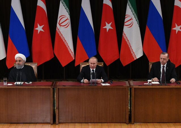 Hasan Rúhání, Vladimir Putin, Recep Tayyip Erdogan. Soči, Rusko 14.02.2019