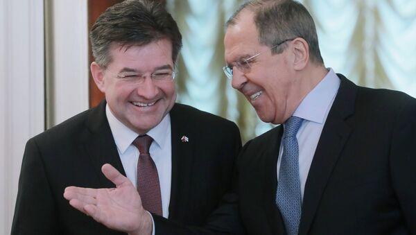 Slovenský ministr zahraničí Miroslav Lajčák a jeho ruský protějšek Sergej Lavrov - Sputnik Česká republika