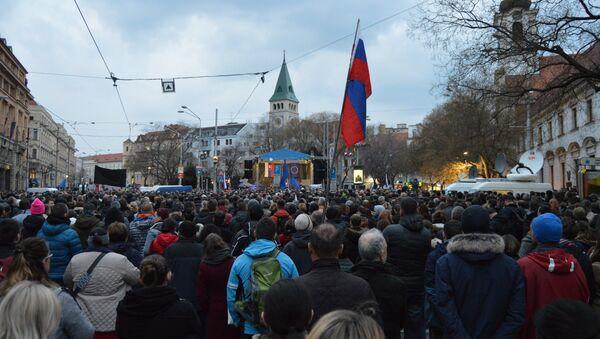 Protesty k výročiu vraždy Jána Kuciaka a Martiny Kušnírovej - Sputnik Česká republika