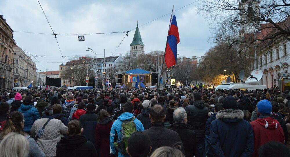 Protesty k výročiu vraždy Jána Kuciaka a Martiny Kušnírovej