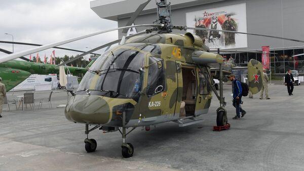 Ruský víceúčelový vrtulník Ka-226 na výstave Armáda Ruska – zítřek během 4. mezinárodního vojensko-technického fóra Armija 2018 v Kubince.  - Sputnik Česká republika