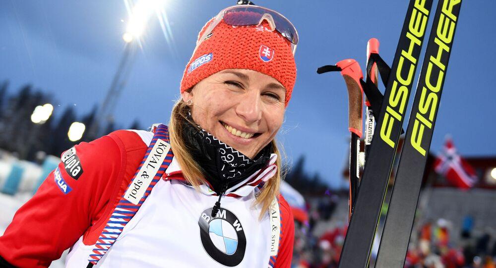 Olympijská vítězka v biatlonu Anastasia Kuzminová